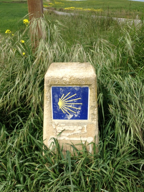 A trail marker on the Camino